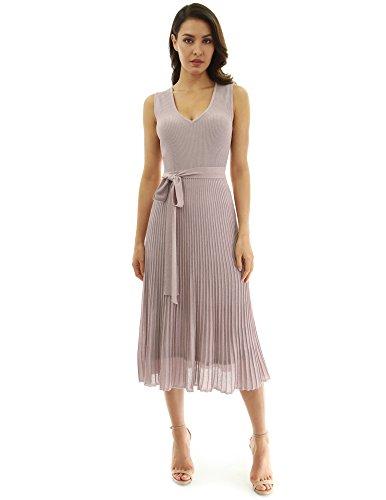 (PattyBoutik Women V Neck Pleated Midi Knit Dress (Tan Large))