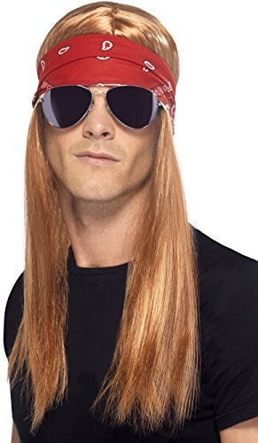 Halloween All Costumes (Smiffy's Men's 90's Rocker Kit, Wig, Bandana and Sunglasses, One Size, Colour: Mixed,)