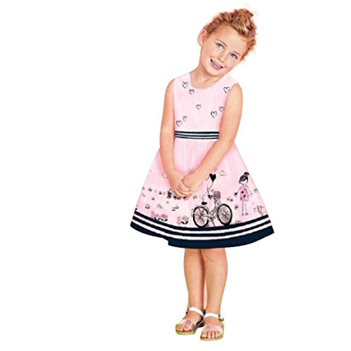 G-real Toddler Baby Girls Kids Cute Cartoon Painting Striped Belt Princess Party A-line Dress (Pink, (Long Smocked Seersucker)