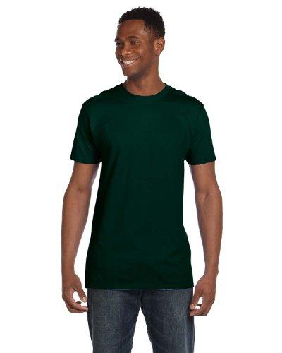 Hanes 4980 Mens Nano T-Shirt 1 Deep Forest + 1 Vintage Orange