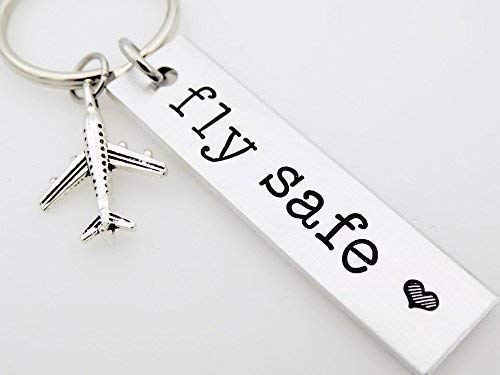 Pilot keychain Fly safe, gift for flight attendant loved one who travels often, airplane jet traveler gift for flight staff airline worker