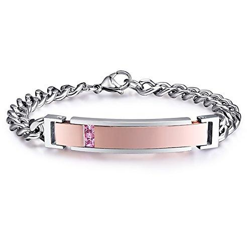 NEHZUS Womens Bracelets Stainless Steel Personalized ID Name Bracelet Custom Engraving