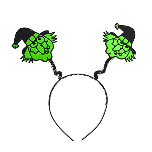 Lux Accessories Halloween Black n Green Festive Ugly Witch Face Bopper Headband ()