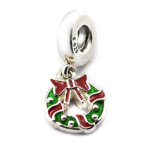TRENDTIDE 2017 New Christmas Gifts Holiday Wreath Dangle Charm, Berry Red & Green Enamel 925 Sterling Silver DIY Fits for Original Bracelets Fashion Charm Jewelry