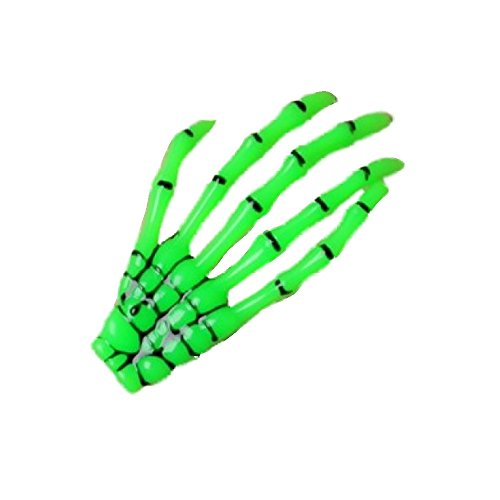 Green Skeleton Hand Motif Halloween Hair Beak Clip Slide Rockabilly -