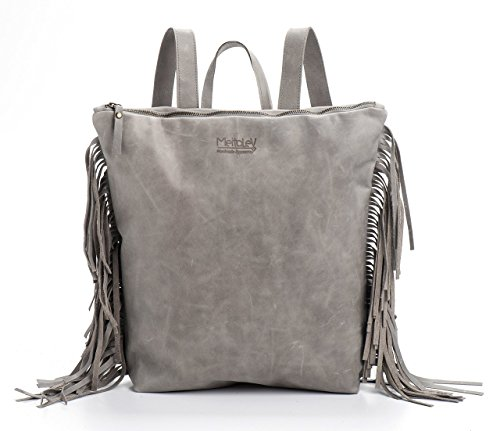 Handmade Designer Grey Genuine Leather Laptop Backpack fringed - Sibling Designer