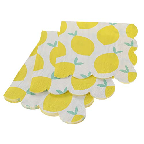 16pcs Yellow Lemon Gilding Tableware Napkins Disposable Paper Napkins Dinner Supplies for Party Carnival Festival(2525cm)