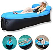 Inflatable Lounger, Lazy Air Sofa with Headrest Waterproof Couch Bed with Carry Bag Portable Indoor/Outdoor Lo