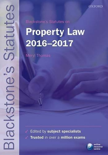 Blackstones Statutes On Property Law 2016 2017  Blackstones Statute Series