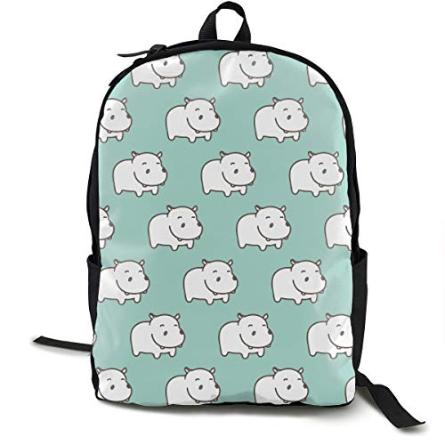 - White Hippo Mint Green Backpck With Adjustable Shoulder Straps, Camping Outdoor Backpack Large Capacity School Daypack Backpack Multipurpose Anti-Theft for Men & Women