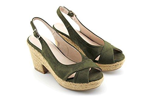 Modelisa - Sandalia Tacon Alpargata Mujer Verde