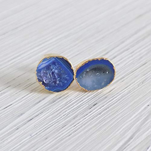Blue Geode Earrings Studs Druzy Gemstone Geode Studs Drussy Small Blue Stone Posts Gold Agate G7-667