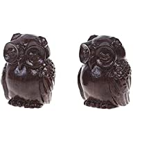 KLOUD City Pack of 2 Wooden Small Size Owl Statue Hand Carved Wooden Figurine for Home Decorations