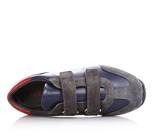 GUESS - Zapatila deportiva azul y gris, de cuero y crosta, con cierre de velcro, Niño, Niños