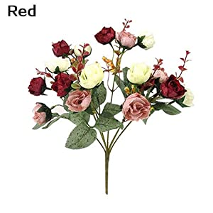 WskLinft 1 Bouquet 21 Heads Home Wedding Decor Fake Artificial Rose Flowers Blossoms - Red 49