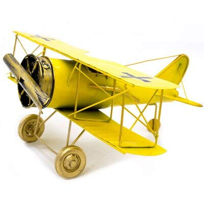 Kiartten Crafts - Metal Decorative Airplane Model Wrought Iron Aircraft Biplane Figurine for Photo Prop Office Desktop Decor Gift 1 Pcs - Metal Pirate Figurines ()