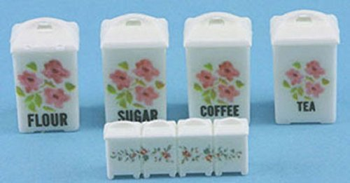 Dollhouse Miniature 1:12 Scale Pink Floral Canister SET Cb144
