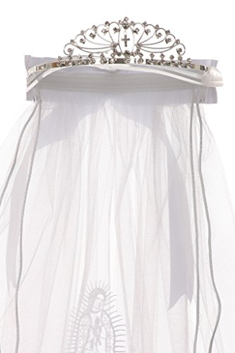 First Communion Veil with Virgin Mary & Peacock Shape Flower Girl Tiara White TR T113C