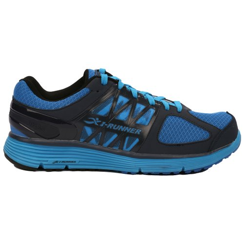 Hylan iRunner Noble Mens Therapeutic Athletic Extra Depth Shoe Leather-and-Mesh Lace - Sky / Dark Blue -8.0 Medium (D) Sky/Dark Blue Lace US Men H2iLyY
