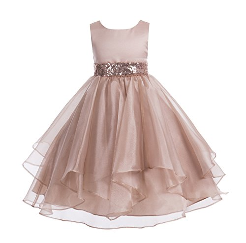 (ekidsbridal Asymmetric Ruffled Organza Sequin Toddler Flower Girl Dress Pageant Gown 012S 8 Rose Gold)