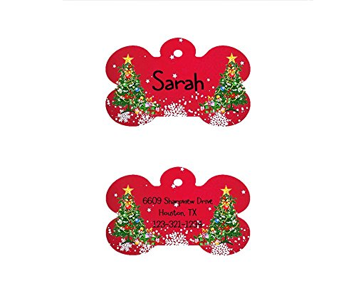 Red Bone Guitars (The Famous Red Bone Shaped Christmas Dog ID Tag, Customizable Information Pet Badge for Dogs and Cats (USPS Tracking).)