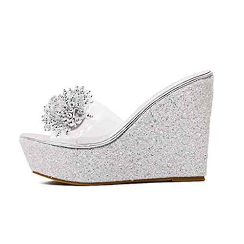 NeeKer Shoes Fashion Rhinestone Wedges Sandals Women Sexy Trifle Slides Casual Beading Open Toe Female Sandals Plus Size Silver 7