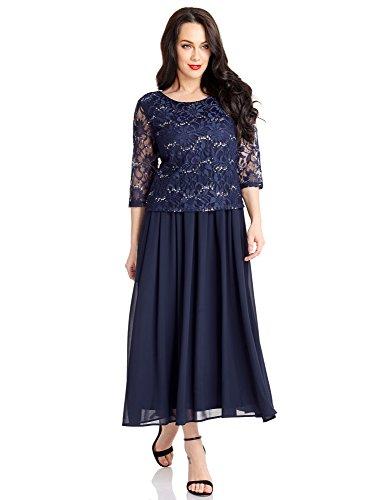 LookbookStore Women's Navy Blue Plus Size Sequin Lace Top Mother of the Bride Chiffon A Line Dress Size XL (US 16-18)