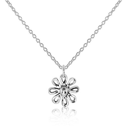 - WithLoveSilver 925 Sterling Silver Daisy Flower Floral Pendant, Necklace 18 Inches
