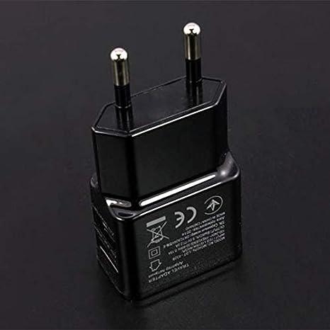 Viajes negro 1A portátil USB Dual Adaptador de corriente ...