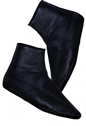 mest 100% Sheepskin Socks Khuffain Kuff khuff Shoes Slippers Leather for Men -Women 36-46 (46)(USA Man Nummer 11.5) Black