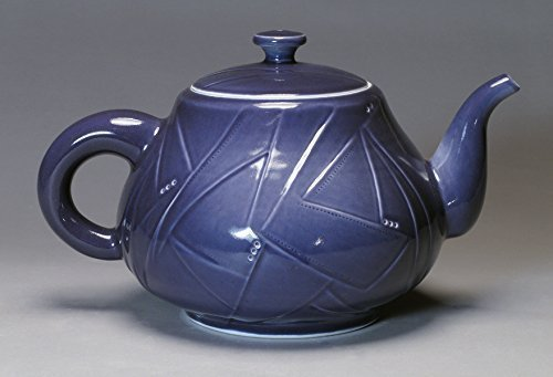 Handmade, Hand-Carved Large Porcelain Teapot (Purple)
