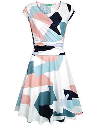 3 Dress 4 Sleeve Cross Women's Neck Empire Flare V Waist Fit Kimmery Geometry w6PfIqxS