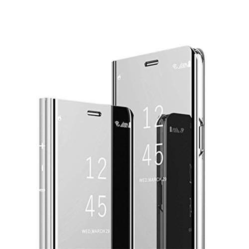 HMTECHUS Galaxy J7 Duo case Design Luxury Bookstyle Clear View Window Electroplate Plating Stand Scratchproof Full Body Protective Flip Folio Slim Cover for Samsung Galaxy J7 Duo PU Mirror:Silver MX