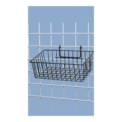 Black Powder Coat Finish Mini-Grid Basket - 12''L x 8''W x 4''D