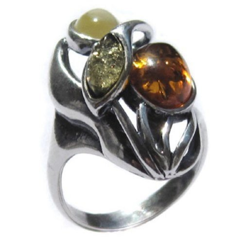 Multicolor Amber and Sterling Silver Designer -