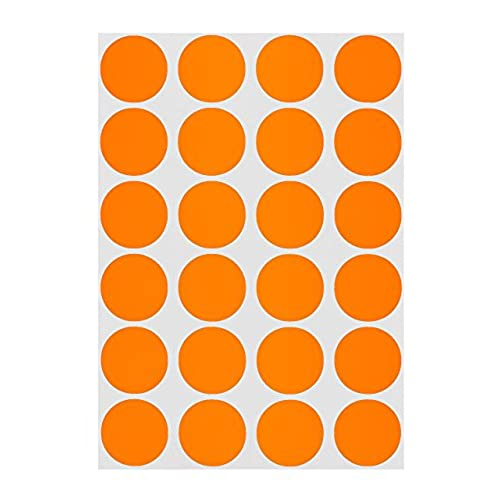 3 4 orange color coding dot labels on sheets permanent adhesive 0 75 in 1008 round stickers per pack