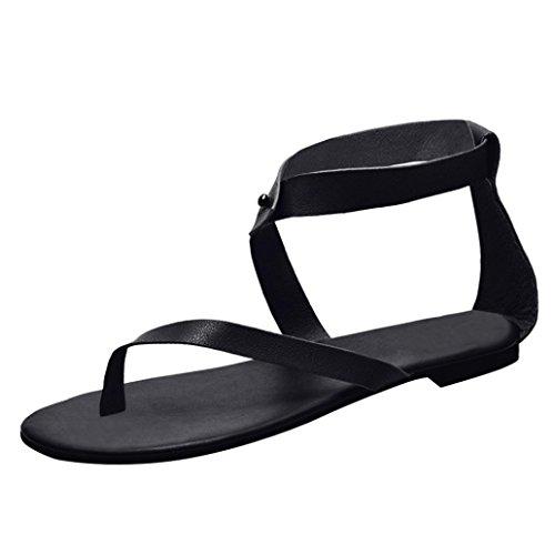 Gladiator HLHN Sandals Roman Toe Shoes Vintage Ankle Flat Thong Heel Black Casual Flip Open Strap Women Lady Flops trwA5r