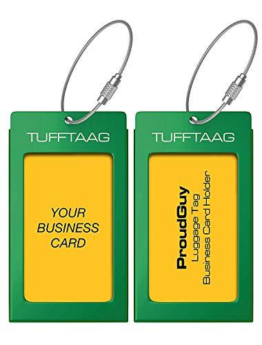 Luggage Tags Business Card Holder TUFFTAAG PAIR Travel ID Bag Tag - Emerald -