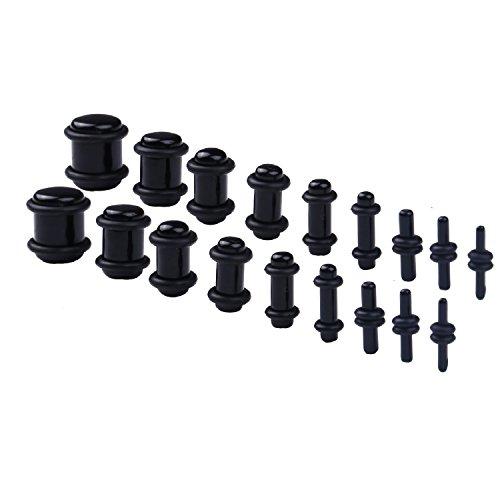 BodyJ4You 18PCS Plugs Stretching Kit 14G-00G Black Ear Gauges Set Acrylic Double O-Ring ()