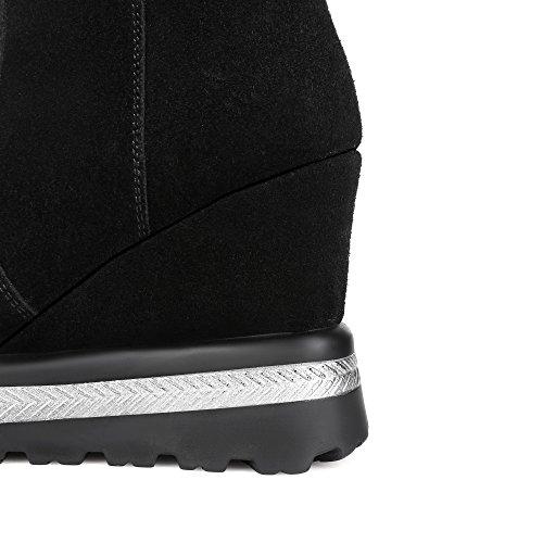 MINIVOG Womens Chain Decoration Suede Wedge Heel Knee-high Boots 4wXN7s