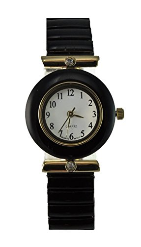 Crystal Stretch Quartz Watch (Women's Black Stretch Band Watch with Crystal Accents and Easy Read Dial)