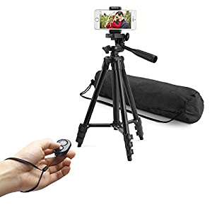 BestTrendy 42-inch aluminum mobile phone tripod for iphone universal smartphone cell phone camera tripod Arbitrary installed With remote control (Black)