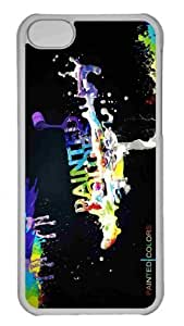 Customized iphone 5C PC Transparent Case - Colorful Paint Personalized Cover
