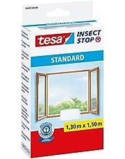 tesa Insect Stop Standard Vliegenhor voor Ramen - Insectenhor, raamhor - Met klittenband - Snij uw eigen horraam op maat - Muggenhor, wit, 130 cm x 150 cm
