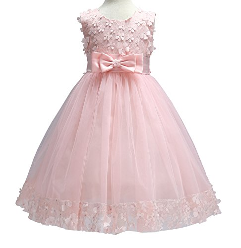Girls Dresses Pink Bow Kids Vintage Party Birthday Wedding Knee Medium Dress 2t 3t(3 314 Pink (High End Girls Dresses)