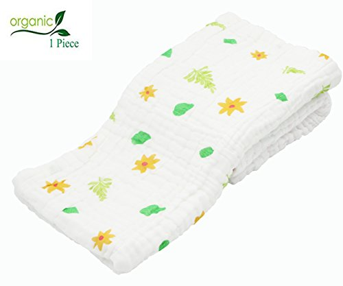 Binztec Muslin Baby Bath Towel and Blanket for Newborn Infants,Medical Grade Natural Antibacterial Cotton for Sensitive Skin,Rapid Absorption, 4141 inches,Best Mothercare Gift! (sun flower)