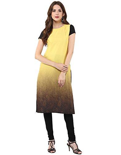 Janasya Women's Yellow Casual Crepe Kurti