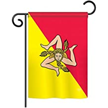 """Breeze Decor G158181 Sicily Flags of the World Nationality Impressions Decorative Vertical Garden Flag 13"""" x 18.5"""" Printed In USA Multi-Color"""