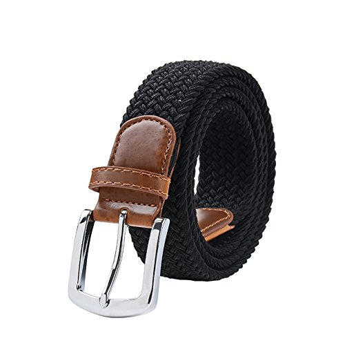 Maikun Braided Elastic Stretch Woven Belt with Leather Tip Nickle Pin Buckle 41 45 49in Christmas ()