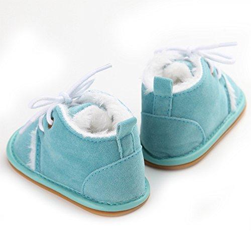 Zapatos de Bebé de Invierno Suaves de las Primeros Caminante (M: 6~12 meses, Leopardo) Azul